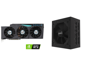 GIGABYTE GeForce RTX 3090 DirectX 12 GV-N3090EAGLE OC-24GD 24GB 384-Bit GDDR6X PCI Express 4.0 x16 SLI Support ATX Video Card and GIGABYTE GP-P850GM 850W ATX 12V v2.31 80 PLUS GOLD Certified Full Modular Active (>0.9 typical) PFC Power Supp
