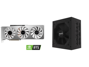 GIGABYTE GeForce RTX 3090 DirectX 12 GV-N3090VISION OC-24GD 24GB 384-Bit GDDR6X PCI Express 4.0 x16 SLI Support ATX Video Card and GIGABYTE GP-P850GM 850W ATX 12V v2.31 80 PLUS GOLD Certified Full Modular Active (>0.9 typical) PFC Power Sup