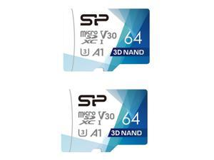 2 x Silicon Power 64GB Superior Pro microSDXC UHS-I (U3), V30 4K A1 Memory Card with Adapter (SP064GBSTXDU3V20AB)