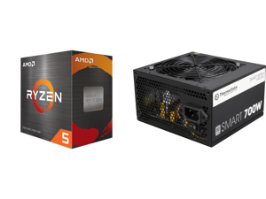 AMD Ryzen 5 5600X 6-Core 3.7 GHz Socket AM4 65W 100-100000065BOX Desktop Processor and Thermaltake Smart Series 700W SLI / CrossFire Ready Continuous Power ATX12V V2.3 / EPS12V 80 PLUS Certified Active PFC Power Supply Haswell Ready