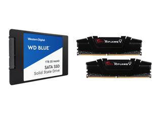 """WD Blue 3D NAND 1TB Internal SSD - SATA III 6Gb/s 2.5""""/7mm Solid State Drive - WDS100T2B0A and G.SKILL Ripjaws V Series 32GB (2 x 16GB) 288-Pin DDR4 SDRAM DDR4 3200 (PC4 25600) Desktop Memory Model F4-3200C16D-32GVK"""