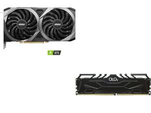 MSI GeForce RTX 3060 Ti DirectX 12 RTX 3060 Ti VENTUS 2X OC 8GB 256-Bit GDDR6 PCI Express 4.0 HDCP Ready Video Card and OLOy 8GB 288-Pin DDR4 SDRAM DDR4 3600 (PC4 28800) Desktop Memory Model ND4U083618BJSA