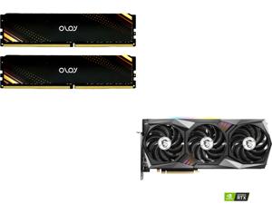 OLOy 16GB (2 x 8GB) 288-Pin DDR4 SDRAM DDR4 3200 (PC4 25600) Desktop Memory Model ND4U0832160BB1DA and MSI GeForce RTX 3060 Ti DirectX 12 RTX 3060 Ti GAMING X TRIO 8GB 256-Bit GDDR6 PCI Express 4.0 HDCP Ready Video Card