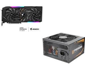 GIGABYTE AORUS Radeon RX 6800 MASTER 16G Graphics Card, MAX-COVERED Cooling, 16GB 256-bit GDDR6, GV-R68AORUS M-16GD Video Card and GIGABYTE P650B GP-P650B 650W Intel Form Factor ATX 12V v2.31 80 PLUS BRONZE PSU