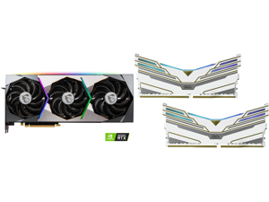 MSI GeForce RTX 3070 DirectX 12 RTX 3070 SUPRIM X 8G 8GB 256-Bit GDDR6 PCI Express 4.0 HDCP Ready Video Card and OLOy WarHawk RGB 16GB (2 x 8GB) 288-Pin DDR4 SDRAM DDR4 3600 (PC4 28800) Desktop Memory Model ND4U0836180BCWDX