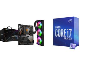 GIGABYTE Z490 AORUS MASTER WATERFORCE LGA 1200 Intel Z490 SATA 6Gb/s ATX Intel Motherboard and Intel Core i7-10700K Comet Lake 8-Core 3.8 GHz LGA 1200 125W Desktop Processor w/ Intel UHD Graphics 630