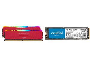 Crucial Ballistix RGB 3200 MHz DDR4 DRAM Desktop Gaming Memory Kit 16GB (8GBx2) CL16 BL2K8G32C16U4RL (RED) and Crucial P2 1TB 3D NAND NVMe PCIe M.2 SSD Up to 2400 MB/s - CT1000P2SSD8