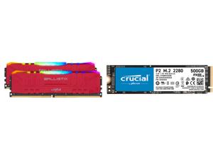 Crucial Ballistix RGB 3200 MHz DDR4 DRAM Desktop Gaming Memory Kit 16GB (8GBx2) CL16 BL2K8G32C16U4RL (RED) and Crucial P2 500GB 3D NAND NVMe PCIe M.2 SSD Up to 2300 MB/s - CT500P2SSD8