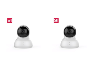 2 x YI Dome Camera 1080p HD Pan/Tilt/Zoom 112° Wide-angle 2-way Audio Wireless 360° Complete Coverage infrared LED Night Vision Auto-Cruise 4x zoom IP Security Surveillance System White (US Edition)
