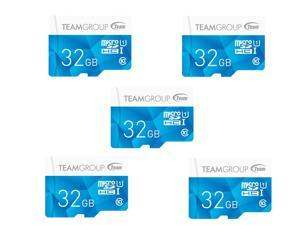 5 x Team Group 32GB Color microSDHC UHS-I/U1 Class 10 Memory Card with Adapter, Speed Up to 80MB/s (TCUSDH32GUHS40)