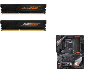 GeIL EVO SPEAR AMD Edition 16GB (2 x 8GB) 288-Pin DDR4 SDRAM DDR4 3000 (PC4 24000) Intel XMP 2.0 Desktop Memory Model GASB416GB3000C16ADC and GIGABYTE Z390 AORUS PRO WIFI LGA 1151 (300 Series) Intel Z390 SATA 6Gb/s ATX Intel Motherboard