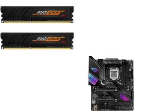 GeIL EVO SPEAR AMD Edition 16GB (2 x 8GB) 288-Pin DDR4 SDRAM DDR4 3000 (PC4 24000) Intel XMP 2.0 Desktop Memory Model GASB416GB3000C16ADC and ASUS ROG STRIX Z490-E GAMING LGA 1200 Intel Z490 SATA 6Gb/s ATX Intel Motherboard