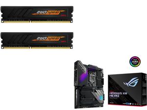 GeIL EVO SPEAR AMD Edition 16GB (2 x 8GB) 288-Pin DDR4 SDRAM DDR4 3000 (PC4 24000) Intel XMP 2.0 Desktop Memory Model GASB416GB3000C16ADC and ASUS ROG MAXIMUS XIII HERO LGA 1200 Intel Z590 SATA 6Gb/s ATX Intel Motherboard