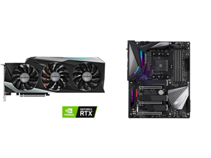 GIGABYTE GeForce RTX 3080 DirectX 12 GV-N3080GAMING OC-10GD 10GB 320-Bit GDDR6X PCI Express 4.0 x16 ATX Video Card and GIGABYTE X570 AORUS MASTER AMD Ryzen 3000 PCIe 4.0 SATA 6Gb/s USB 3.2 AMD X570 ATX Motherboard