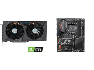 GIGABYTE GeForce RTX 3060 Ti DirectX 12 GV-N306TEAGLE OC-8GD 8GB 256-Bit GDDR6 PCI Express 4.0 x16 ATX Video Card and GIGABYTE B550 AORUS ELITE AM4 AMD B550 ATX Motherboard with Dual M.2 SATA 6Gb/s USB 3.2 Gen 2 2.5 GbE LAN PCIe 4.0
