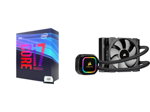 Intel Core i7-9700K Coffee Lake 8-Core 3.6 GHz (4.9 GHz Turbo) LGA 1151 (300 Series) 95W BX80684I79700K Desktop Processor Intel UHD Graphics 630 and CORSAIR iCUE H60i RGB PRO XT 120mm Radiator Single 120mm PWM Fan Software Control Liquid CP