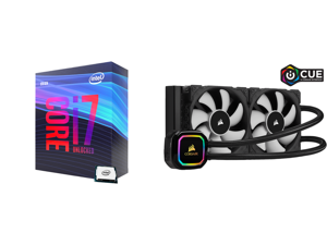 Intel Core i7-9700K Coffee Lake 8-Core 3.6 GHz (4.9 GHz Turbo) LGA 1151 (300 Series) 95W BX80684I79700K Desktop Processor Intel UHD Graphics 630 and CORSAIR iCUE H100i RGB PRO XT 240mm Radiator Dual 120mm PWM Fans Software Control Liquid CP