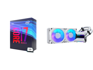 Intel Core i7-9700K Coffee Lake 8-Core 3.6 GHz (4.9 GHz Turbo) LGA 1151 (300 Series) 95W BX80684I79700K Desktop Processor Intel UHD Graphics 630 and Phanteks Glacier One 240MPH D-RGB AIO Liquid CPU Cooler Infinity Mirror Pump Cap Design 2x