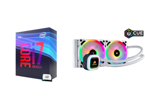 Intel Core i7-9700K Coffee Lake 8-Core 3.6 GHz (4.9 GHz Turbo) LGA 1151 (300 Series) 95W BX80684I79700K Desktop Processor Intel UHD Graphics 630 and Corsair Hydro Series H100i RGB PLATINUM SE 240mm Radiator Dual LL120 RGB PWM Fans Advanced