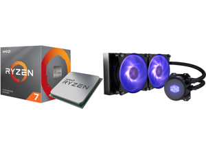 AMD RYZEN 7 3700X 8-Core 3.6 GHz (4.4 GHz Max Boost) Socket AM4 65W 100-100000071BOX Desktop Processor and Cooler Master MasterLiquid ML240L RGB Close-Loop CPU Liquid Cooler 240mm Radiator Dual Chamber RGB Pump Dual MF120R RGB Fans RGB Ligh