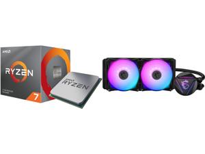 AMD RYZEN 7 3700X 8-Core 3.6 GHz (4.4 GHz Max Boost) Socket AM4 65W 100-100000071BOX Desktop Processor and MSI MAG CORELIQUID 240R AIO Liquid CPU Cooler 240mm Radiator Dual 120mm PWM Fans RGB Lighting Controlled by Software