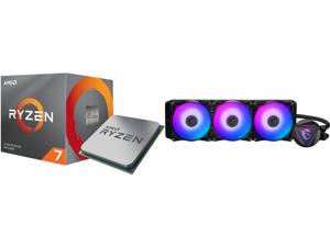 AMD RYZEN 7 3700X 8-Core 3.6 GHz (4.4 GHz Max Boost) Socket AM4 65W 100-100000071BOX Desktop Processor and MSI MAG CORELIQUID 360R AIO Liquid CPU Cooler 360mm Radiator Triple 120mm PWM Fans RGB Lighting Controlled by Software
