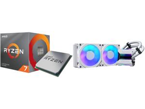 AMD RYZEN 7 3700X 8-Core 3.6 GHz (4.4 GHz Max Boost) Socket AM4 65W 100-100000071BOX Desktop Processor and Phanteks Glacier One 240MPH D-RGB AIO Liquid CPU Cooler Infinity Mirror Pump Cap Design 2x Silent 120mm MP PWM Fans 2x D-RGB Halos Fa