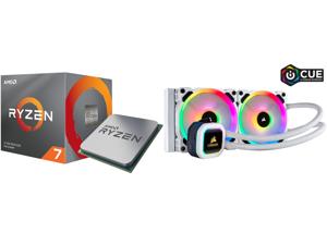 AMD RYZEN 7 3700X 8-Core 3.6 GHz (4.4 GHz Max Boost) Socket AM4 65W 100-100000071BOX Desktop Processor and Corsair Hydro Series H100i RGB PLATINUM SE 240mm Radiator Dual LL120 RGB PWM Fans Advanced RGB Lighting and Fan Control with Software