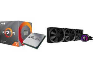 AMD RYZEN 7 3700X 8-Core 3.6 GHz (4.4 GHz Max Boost) Socket AM4 65W 100-100000071BOX Desktop Processor and NZXT Kraken Z Series Z73 360mm - RL-KRZ73-01 - AIO RGB CPU Liquid Cooler - Customizable LCD Display - Improved Pump - Powered by CAM