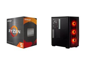 AMD Ryzen 5 5600X 6-Core 3.7 GHz Socket AM4 65W 100-100000065BOX Desktop Processor and CORSAIR Carbide Series SPEC-DELTA RGB Tempered Glass Mid-Tower ATX Gaming Case Black - CC-9011166-WW