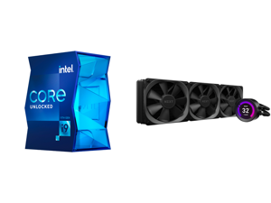 Intel Core i9-11900K Rocket Lake 8-Core 3.5 GHz LGA 1200 125W BX8070811900K Desktop Processor Intel UHD Graphics 750 and NZXT Kraken Z Series Z73 360mm - RL-KRZ73-01 - AIO RGB CPU Liquid Cooler - Customizable LCD Display - Improved Pump - P