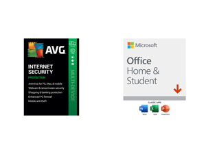 AVG Internet Security and Microsoft Office Home Student 2019 Bundle