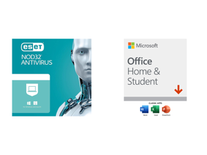 ESET NOD32 Antivirus 1 Year 1 Device and Microsoft Office Home Student 2019 | One time purchase 1 device | Windows 10 PC/Mac Download
