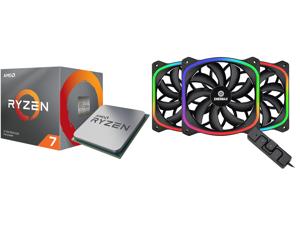 AMD RYZEN 7 3700X 8-Core 3.6 GHz (4.4 GHz Max Boost) Socket AM4 65W 100-100000071BOX Desktop Processor and ENERMAX SquA RGB (3-pack) UCSQARGB12P-BP3 120mm Addressable RGB LED Case Fan