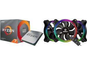 AMD RYZEN 7 3700X 8-Core 3.6 GHz (4.4 GHz Max Boost) Socket AM4 65W 100-100000071BOX Desktop Processor and Enermax T.B. RGB AD 4-Ring Addressable RGB sync 120mm Fan Halo-Arc shape 3 Fans PK Black UCTBRGBA12P-BP3