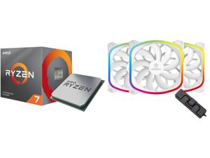 AMD RYZEN 7 3700X 8-Core 3.6 GHz (4.4 GHz Max Boost) Socket AM4 65W 100-100000071BOX Desktop Processor and Enermax SquA 120mm Dual Light Loop RGB LED PWN Fan 3 Pack w/ RGB Control Box - White UCSQARGB12P-W-BP3