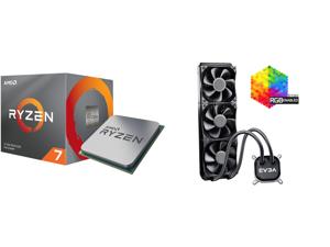 AMD RYZEN 7 3700X 8-Core 3.6 GHz (4.4 GHz Max Boost) Socket AM4 65W 100-100000071BOX Desktop Processor and EVGA CLC 360 400-HY-CL36-V1 All-In-One RGB LED CPU Liquid Cooler 3x FX12 120mm PWM Fans Intel AMD