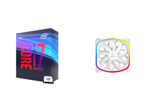 Intel Core i7-9700K Coffee Lake 8-Core 3.6 GHz (4.9 GHz Turbo) LGA 1151 (300 Series) 95W BX80684I79700K Desktop Processor Intel UHD Graphics 630 and Enermax SquA 120mm Dual Light Loop RGB LED PWN Fan Plug Play Single Pack - White UCSQARGB12