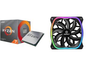 AMD RYZEN 7 3700X 8-Core 3.6 GHz (4.4 GHz Max Boost) Socket AM4 65W 100-100000071BOX Desktop Processor and Enermax Squa RGB PWM 120mm Case Fan Addressable RGB Sync Via Motherboard Single Pack - Black UCSQARGB12P-SG