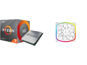 AMD RYZEN 7 3700X 8-Core 3.6 GHz (4.4 GHz Max Boost) Socket AM4 65W 100-100000071BOX Desktop Processor and Enermax SquA 120mm Dual Light Loop RGB LED PWN Fan Plug Play Single Pack - White UCSQARGB12P-W-SG