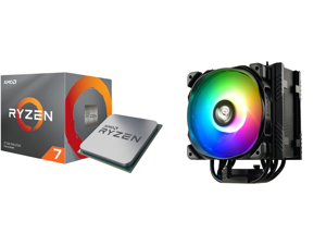 AMD RYZEN 7 3700X 8-Core 3.6 GHz (4.4 GHz Max Boost) Socket AM4 65W 100-100000071BOX Desktop Processor and Enermax ETS-T50 Axe Addressable RGB CPU Air Cooler 230W+ TDP for Intel/AMD Univeral Socket 5 Direct Contact Heat Pipes 120mm PWM Fan