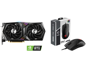 MSI GeForce RTX 3060 DirectX 12 Ultimate RTX 3060 Gaming X 12G 12GB 192-Bit GDDR6 PCI Express 4.0 HDCP Ready Video Card and MSI CLUTCH GM41 S12-0401860-C54 (WW) Black Wired Optical Lightweight Gaming Mouse