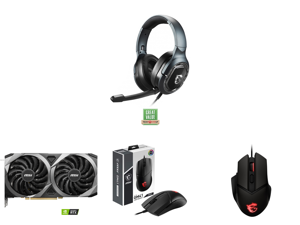 MSI IMMERSE GH50 Gaming Headset and MSI GeForce RTX 3060 Ti DirectX 12 RTX 3060 Ti VENTUS 2X OC 8GB 256-Bit GDDR6 PCI Express 4.0 HDCP Ready Video Card and MSI CLUTCH GM41 S12-0401860-C54 (WW) Black Wired Optical Lightweight Gaming Mouse an