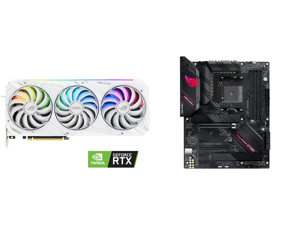 ASUS ROG Strix GeForce RTX 3090 DirectX 12 ROG-STRIX-RTX3090-O24G-WHITE 24GB 384-Bit GDDR6X PCI Express 4.0 HDCP Ready SLI Support Video Card and ASUS ROG STRIX B550-F GAMING AM4 AMD B550 SATA 6Gb/s ATX AMD Motherboard