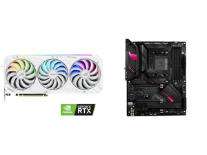 ASUS ROG Strix GeForce RTX 3090 DirectX 12 ROG-STRIX-RTX3090-O24G-WHITE 24GB 384-Bit GDDR6X PCI Express 4.0 HDCP Ready SLI Support Video Card and ASUS ROG Strix B550-E Gaming AMD AM4 (3rd Gen Ryzen) ATX Gaming Motherboard (PCIe 4.0 NVIDIA S