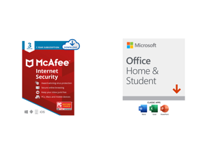 McAfee Internet Security 2021 1 Year / 3 Devices - Download and Microsoft Office Home Student 2019 | One time purchase 1 device | Windows 10 PC/Mac Download