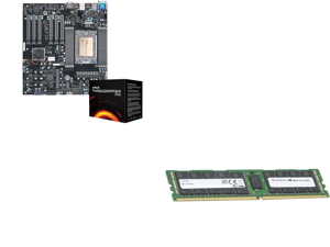 Supermicro AMD Motherboard/CPU Bundle - M12SWA-TF Workstation Motherboard Installed with AMD Ryzen Threadripper PRO 3995WX CPU 64-Core/128-Thread Processor - Integrated by Supermicro and Supermicro (M393A8G40AB2-CWE) 64GB SDRAM ECC Register