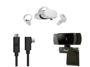 Oculus Quest 2 - Advanced All-In-One Virtual Reality Headset - 64 GB and Oculus Link Virtual Reality Headset Cable for Quest 2 and Quest - 16 ft. (5M) - PC VR and Rosewill RCAM-20001 2.0 M Effective Pixels USB 2.0 WebCam