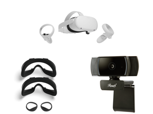 Oculus Quest 2 - Advanced All-In-One Virtual Reality Headset - 256 GB and Oculus Quest 2 Fit Pack with Two Alternate-Width Facial Interfaces and Light Blockers - VR and Rosewill RCAM-20001 2.0 M Effective Pixels USB 2.0 WebCam