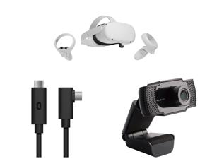 Oculus Quest 2 - Advanced All-In-One Virtual Reality Headset - 256 GB and Oculus Link Virtual Reality Headset Cable for Quest 2 and Quest - 16 ft. (5M) - PC VR and SLIDE WB13 2.0 M Effective Pixels USB 2.0 WebCam